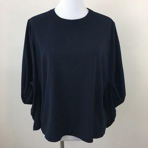 Vince Camuto Navy Blue Tucked Sleeve Blouse Top L
